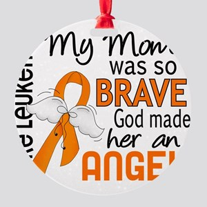 D Angel 2 Mom Leukemia Round Ornament