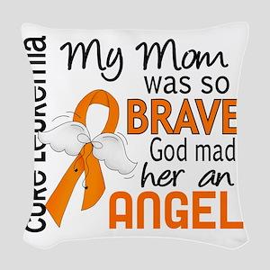 D Angel 2 Mom Leukemia Woven Throw Pillow