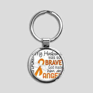 D Angel 2 Husband Leukemia Round Keychain