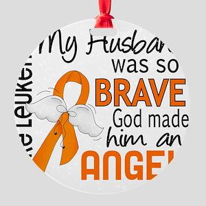 D Angel 2 Husband Leukemia Round Ornament