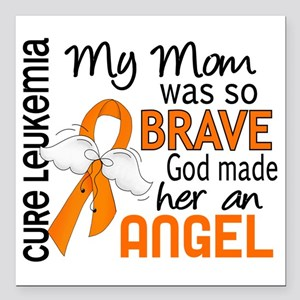 "D Angel 2 Mom Leukemia Square Car Magnet 3"" x 3"""