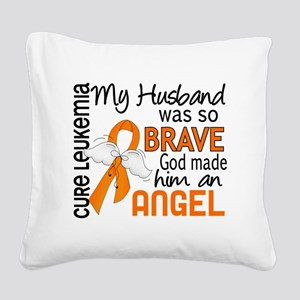 D Angel 2 Husband Leukemia Square Canvas Pillow