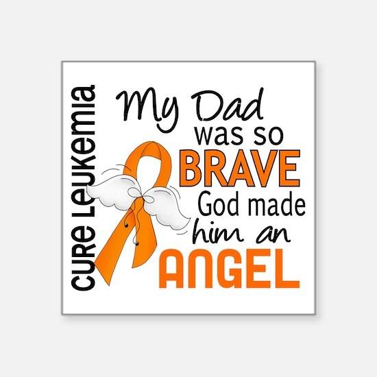 "D Angel 2 Dad Leukemia Square Sticker 3"" x 3"""
