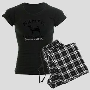 111japanese akita Women's Dark Pajamas