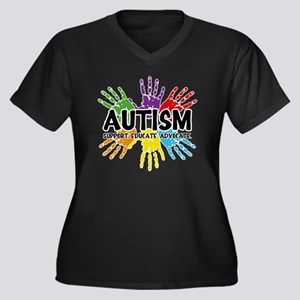 Autism Women's Plus Size Dark V-Neck T-Shirt