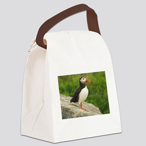 PuffinsForTheBirds-whiteLetters c Canvas Lunch Bag