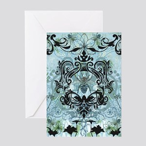 BeeFloralBluTwDuvet Greeting Card