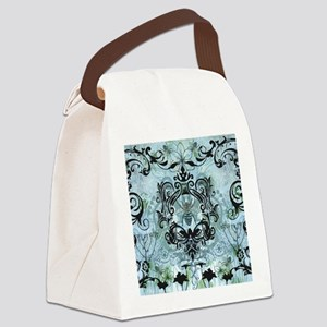 BeeFloralBluQduvet Canvas Lunch Bag