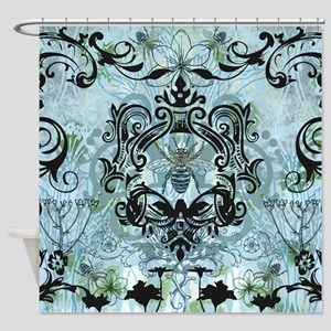BeeFloralBluQduvet Shower Curtain