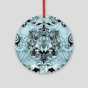 BeeFloralBluQduvet Round Ornament