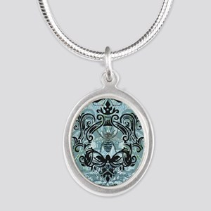 BeeFloralBluShowerC Silver Oval Necklace