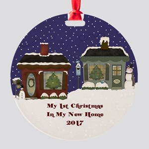 2017 My 1St Christmas Cottage Round Ornament