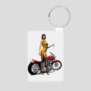 Biker_Girl_Street_Of_Dream Aluminum Photo Keychain