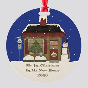 2016 My 1St Christmas Cottage Round Ornament