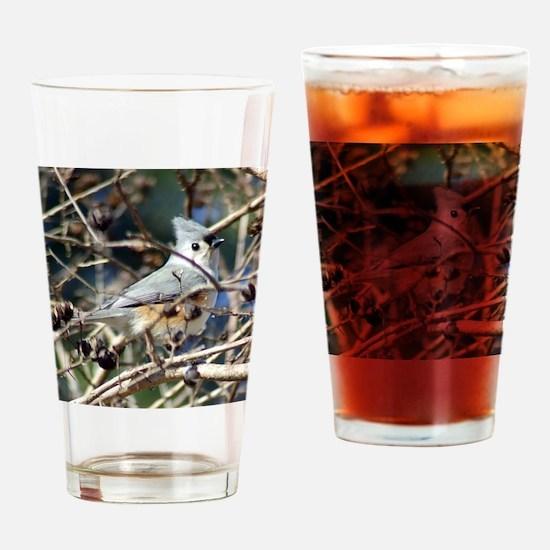 TuftedTitmouse10x8 Drinking Glass