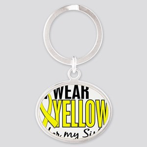 D I Wear Yellow For My Sister 10 End Oval Keychain