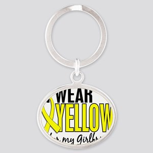 D I Wear Yellow For My Girlfriend 10 Oval Keychain