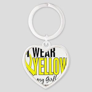 D I Wear Yellow For My Girlfriend 1 Heart Keychain