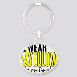 D I Wear Yellow For My Daughter 10 E Oval Keychain