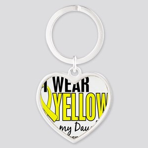 D I Wear Yellow For My Daughter 10  Heart Keychain