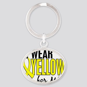 D I Wear Yellow For Me 10 Endometrio Oval Keychain