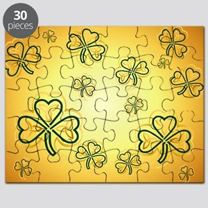 Pillow Case Gold and Green Shamrocks-2 Puzzle