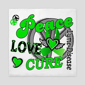 D Peace Love Cure 2 Lyme Disease Queen Duvet