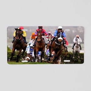 racing horses Aluminum License Plate