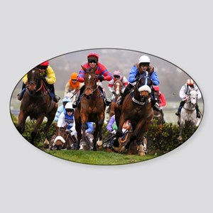 racing horses Sticker (Oval)