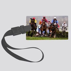 racing horses Large Luggage Tag