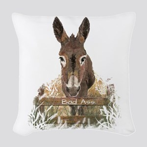 Bad Ass Fun Donkey Humor Quote Woven Throw Pillow