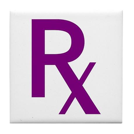 Purple Rx Symbol Tile Coaster