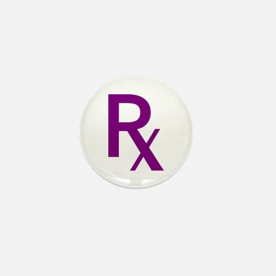 Purple Rx Symbol Mini Button