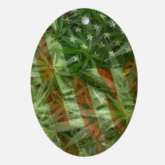 weed flag Oval Ornament