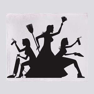 cleaning action team Throw Blanket