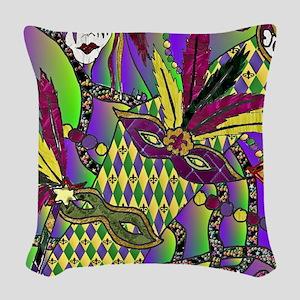 RetroMardiGrasMasks1a-2 Woven Throw Pillow