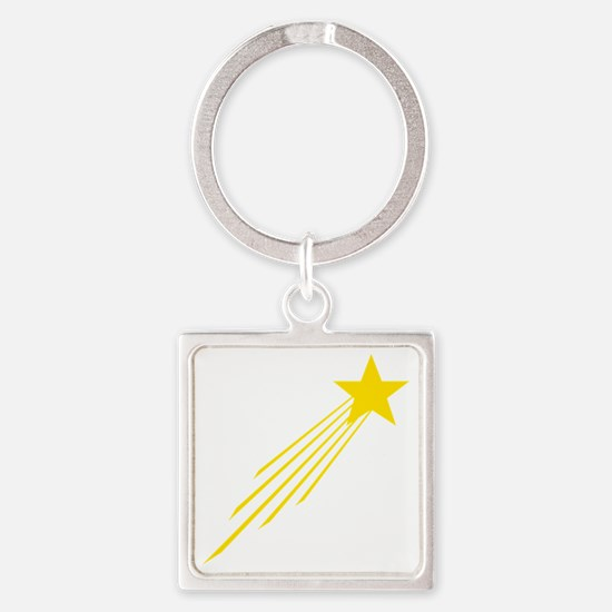 shooting star yellow Square Keychain