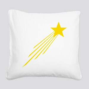 shooting star yellow Square Canvas Pillow