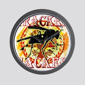 tracker jacker with white letters hunge Wall Clock