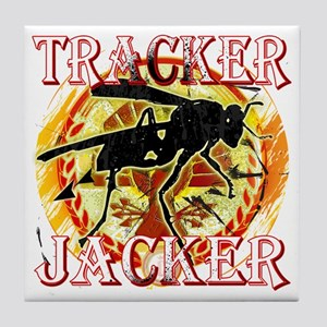 tracker jacker with white letters hun Tile Coaster