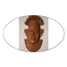 The Wooden Mask Oval Sticker