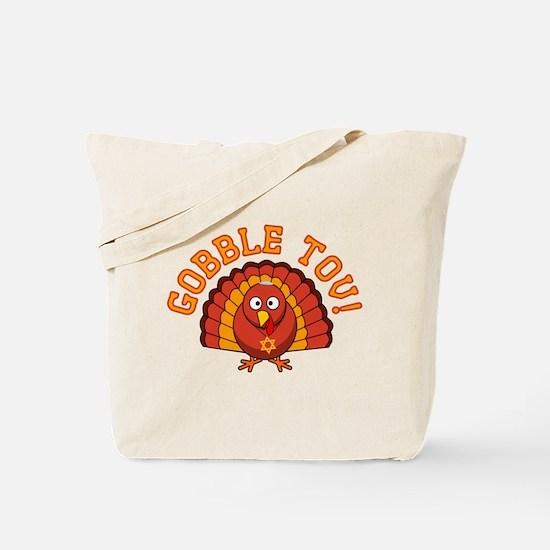 Gobble Tov Thanksgivukkah Turkey Tote Bag