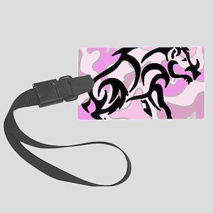 Pink Camo Tribal Boar Large Luggage Tag
