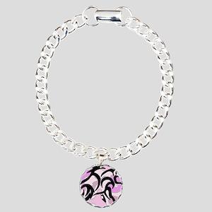 Pink Camo Tribal Boar Charm Bracelet, One Charm