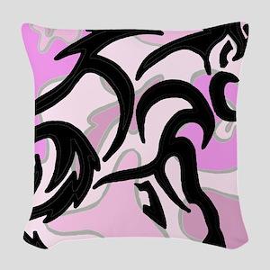 Pink Camo Tribal Boar Woven Throw Pillow