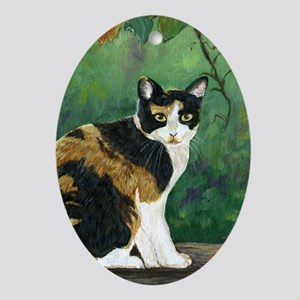 Calico Cat Oval Ornament