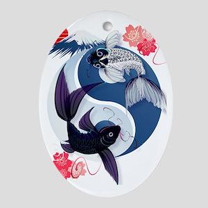 Yin Yang Koi Trans Oval Ornament