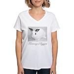 White Bunny Hugger Women's V-Neck T-Shirt