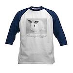 White Bunny Hugger Kids Baseball Jersey
