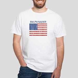 RALPH NADER (Vintage flag) White T-Shirt
